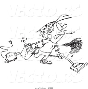 vector-of-a-cartoon-grumpy-woman-spring-cleaning-outlined-coloring-page-by-ron-leishman-21980